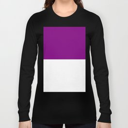 White and Purple Violet Horizontal Halves Long Sleeve T-shirt
