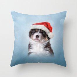 Dog puppy Australian Shepherd in red hat of Santa Claus Throw Pillow