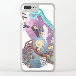 Heart Painting of Girl and Penguins Leaving Boy On His Planets of Cages and Ducks and Boy on Differe Clear iPhone Case
