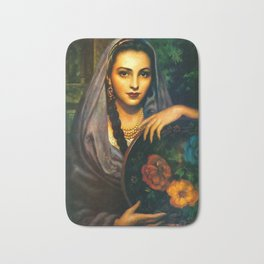 Jesus Helguera Painting of a Calendar Girl with Dark Shawl Bath Mat