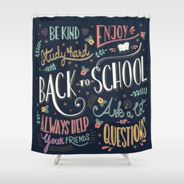 Back to school colorful typography drawing on blackboard with motivational messages, hand lettering Shower Curtain