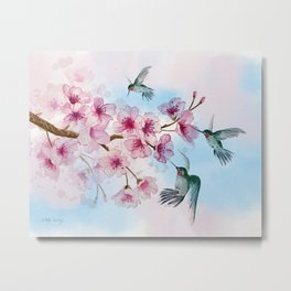 Cherry Blossom and Hummingbirds Metal Print