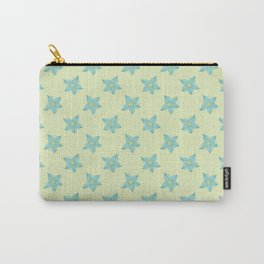 Teal flowers on a mint green background Carry-All Pouch