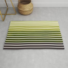 Watercolor Gouache Mid Century Modern Minimalist Colorful Olive Green Stripes Rug