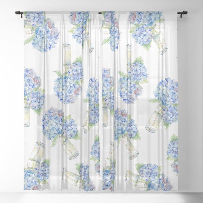 Blue Hydrangea, Still Life Sheer Curtain