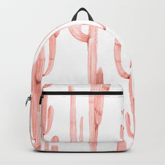 Pretty Coral Pink Cactus Pattern Rucksack