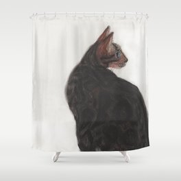 Dave the Bengal Cat, pastel, oil pastel, pencil, charcoal, by Candy Medusa, Black Dwarf Designs Shower Curtain