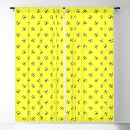 Navy Blue on Electric Yellow Snowflakes Blackout Curtain