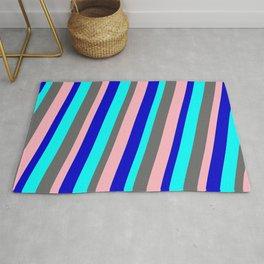 Cyan, Dim Gray, Light Pink & Blue Colored Striped Pattern Rug