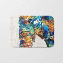 Colorful Elephant Art by Sharon Cummings Bath Mat