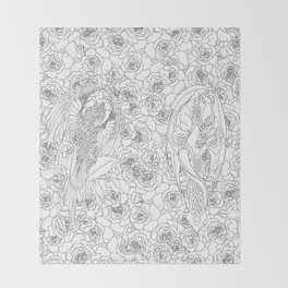 Color Me Mythic Roses Throw Blanket