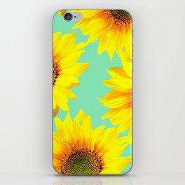 Sunflowers on a pastel green backgrond - #Society6 #buyart iPhone Skin