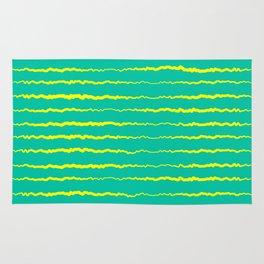 Yellow and Teal Waves Rug