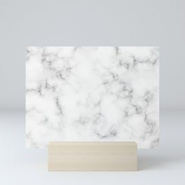The Perfect Classic White with Grey Veins Marble Mini Art Print