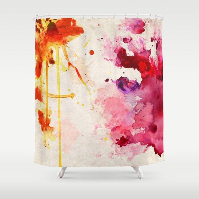 Fuchsia Orange Color Splash Shower Curtain