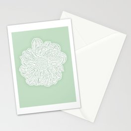 Single White Dahlia Lino Cut, Soft Sage Green Stationery Cards