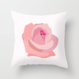 Pink Rose Illustration Throw Pillow