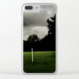 Football goalposts in an empty field Clear iPhone Case