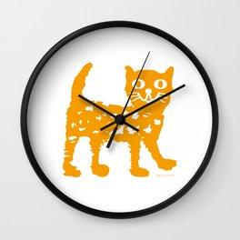 Orange cat illustration, cat pattern Wall Clock