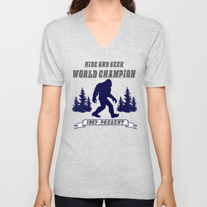 181a8aeb5ea0 Hide and Seek World Champion Bigfoot Unisex V-Neck by timmiklos ...