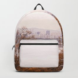 Dreamy Seoul city view with bridge across Han river Backpack