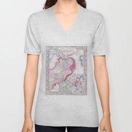 Vintage Map of Downtown Boston (1864) Unisex V-Neck