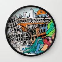 community Wall Clocks featuring Community by sam kirk