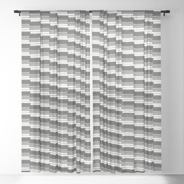 Staggered Oblong Rounded Lines Pattern Pantone Pewter Gray Sheer Curtain