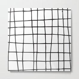 Scribbled Grid Metal Print