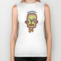 human Biker Tanks featuring Human  by PINT GRAPHICS