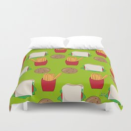 "Lunch Time - 'My Brother Makes Me Laugh"" series Duvet Cover"