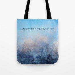 Serenity Prayer Sky and Trees Abstract Tote Bag