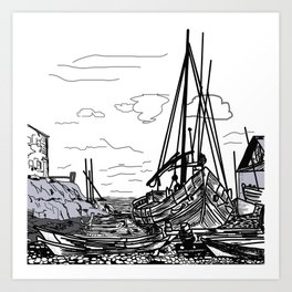 boats on the sea . artwork Art Print