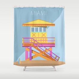 Miami Lifeguard Tower Shower Curtain