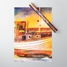 Boat Sunset Beach Painting Wrapping Paper