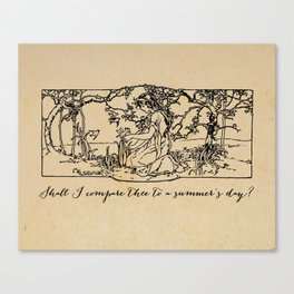 Shakespeare - Sonnet 18 - Summers Day Canvas Print