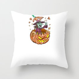 Witch Pumpkin, It's Show Time Funny Halloween Horror Scary Throw Pillow