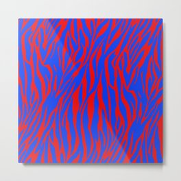 Zebra Print Red and Blue Metal Print