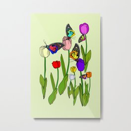 Fresh Tulips and Butterflies Metal Print