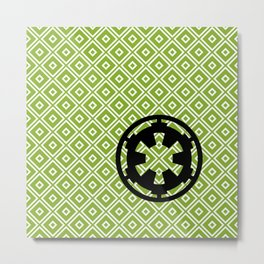 Imperial Cog in Black and Pea Green Metal Print