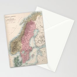 Vintage Map of Norway and Sweden (1865) Stationery Cards