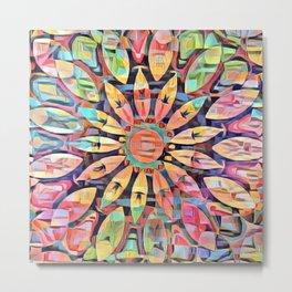 Cubistic Rainbow Flower Kaleidoscope Metal Print