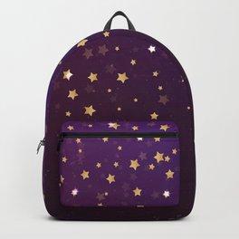 Violet Night Gold Stars Backpack