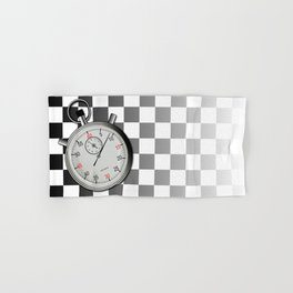 Chequered Flag and Stop Watch Hand & Bath Towel