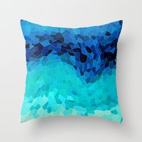 old Throw Pillows featuring INVITE TO BLUE by Catspaws