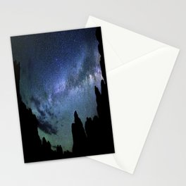 Milky Way Mountains Silhouette Stationery Cards