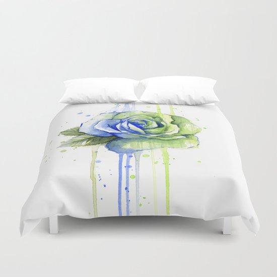 Flower Rose Watercolor Painting 12th Man Art Duvet Cover