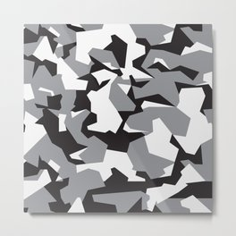 Camouflage Splinter Pattern Grey Metal Print