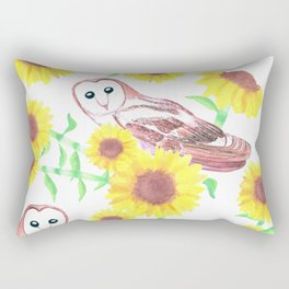 Barn owls and Sunflowers watercolor art Rectangular Pillow