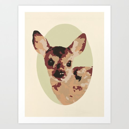 Oh Deer, oh dear! Paint-ed by Numbers Art Print